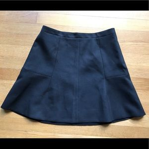 J. Crew Fluted Mini Skirt in Black Crepe, 4, EUC